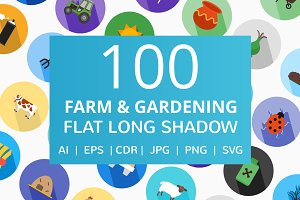 100 Farm & Gardening Flat Icons