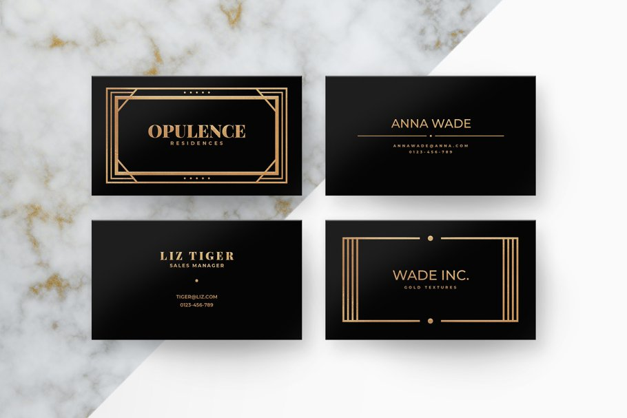 6 Art Deco Business Cards - Business Card Templates | Creative ...