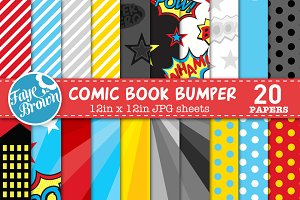 Comic book digital scrapbook paper