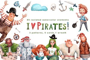 I Love Pirates! - Watercolor Set