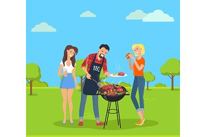 Steak and Barbecue Party, Vector Illustration