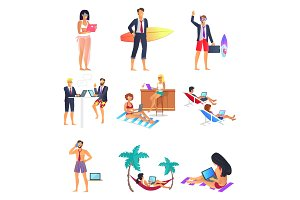 Business Summer People Set Vector Illustration