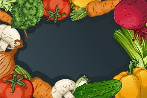 Colorful Drawing Vegetables Template