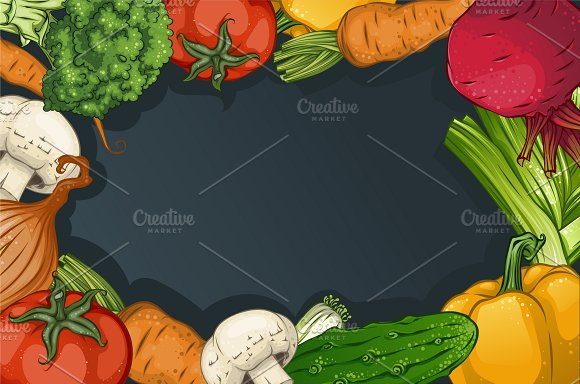 colorful drawing vegetables template illustrations creative market