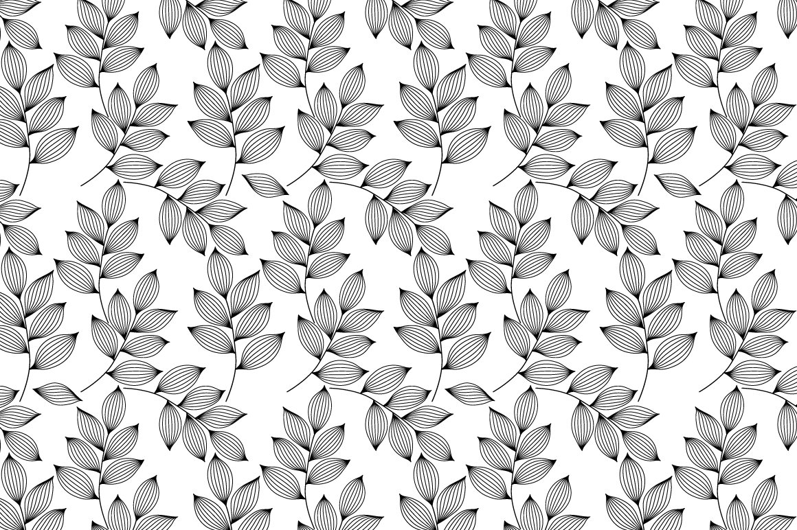 Black And White Leaves Pattern Graphic Patterns Creative Market