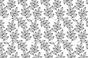 Black and white leaves pattern