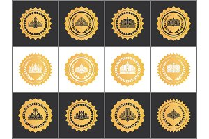 Gold Royal Quality Approval Marks with Crowns Set
