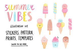Summer vibes illustration set