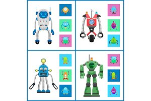 Cybers Collection Robots, Vector Illustration