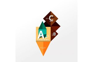 Geometric infographic banner, paper info diagram created with color shapes