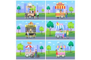 Set of Mobile Fast Street Food Kiosks in City Park