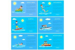 Donut Ride and Kitesurfing Set Vector Illustration