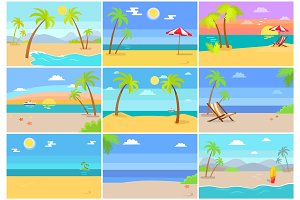 Nature Sea Beaches Collection Vector Illustration