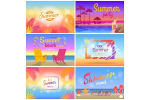Hot Summer Party Mood, Beach Landscape Posters