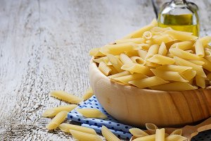 Uncooked penne pasta