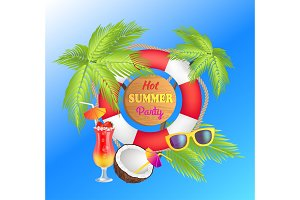 Hot Summer Party Promotional Poster with Lifebuoy