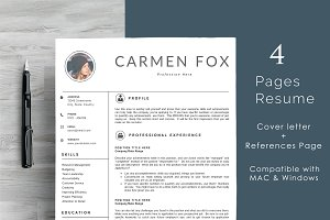 Minimal Resume Template 4 Pages | Cl
