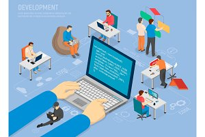 Programming Development Poster with Code in Laptop