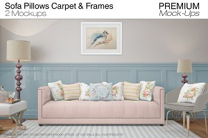Sofa Pillows Carpet & Frames Set