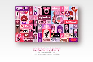 Disco Party vector pop art collage