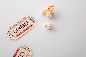 Movie tickets on white table detail