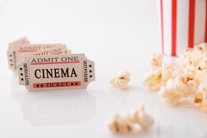 film ticket strip front white