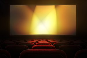 Movie theater with projection screen