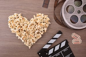 Loving the cinema with popcorn heart