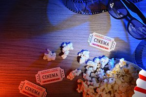 Cine elements colored lights 3d