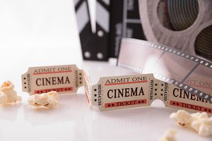 Objects of cinema white close up