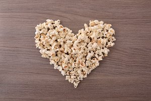Concept of loving the cinema popcorn