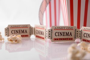 Cine ticket and popcorn white detail