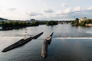 Scenic view of Vltava river in historic centre of Prague