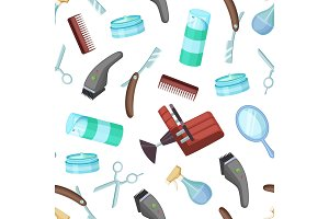 Vector hairdresser or barber cartoon elements pattern or background illustration