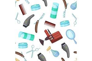 Vector hairdresser or barber cartoon elements pattern or background illustration