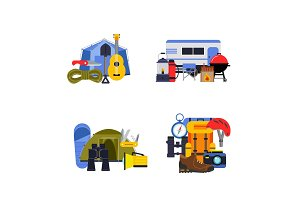 Vector set of flat style camping elements piles illustration