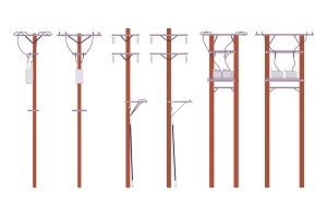 Electric wire poles set