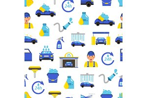 Vector car wash flat icons pattern or background illustration