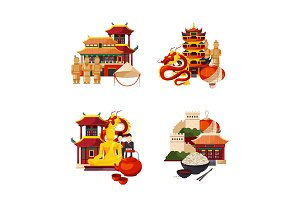 Vector set of flat style china elements and sights piles illustration