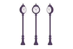 Black street clock set