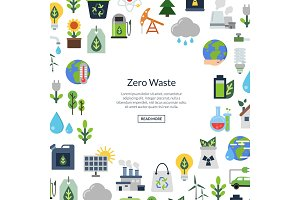 Vector background with place for text and with ecology flat icons