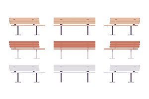 Wooden street bench set