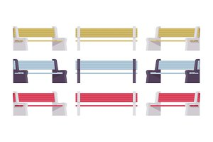 Bright colored street bench set
