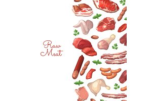 Vector cartoon meat elements background illustration with place for text