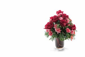 Beautiful vase of roses