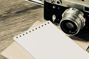 Retro camera and notebook