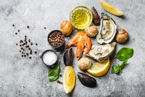 Assortment of fresh seafood