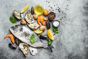 Fresh raw fish Dorado and seafood