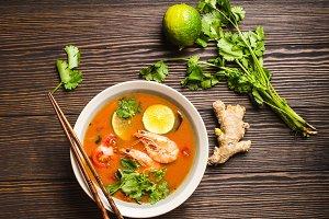 Traditional Thai soup tom yum