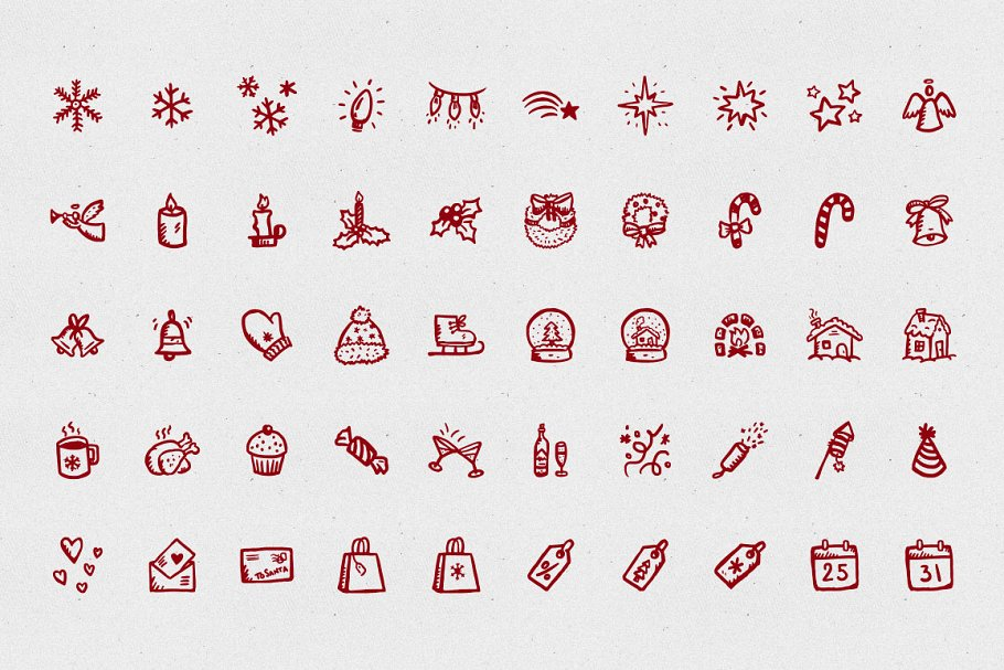 Merry Icons: 100 Christmas icons in Christmas Icons - product preview 2